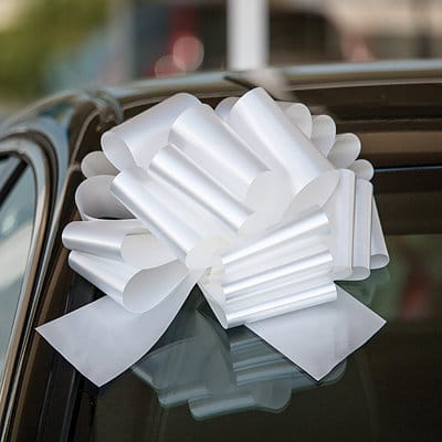 White 12 inch Diameter Big Car Bows with 28 Loops,Giant Gift Bows