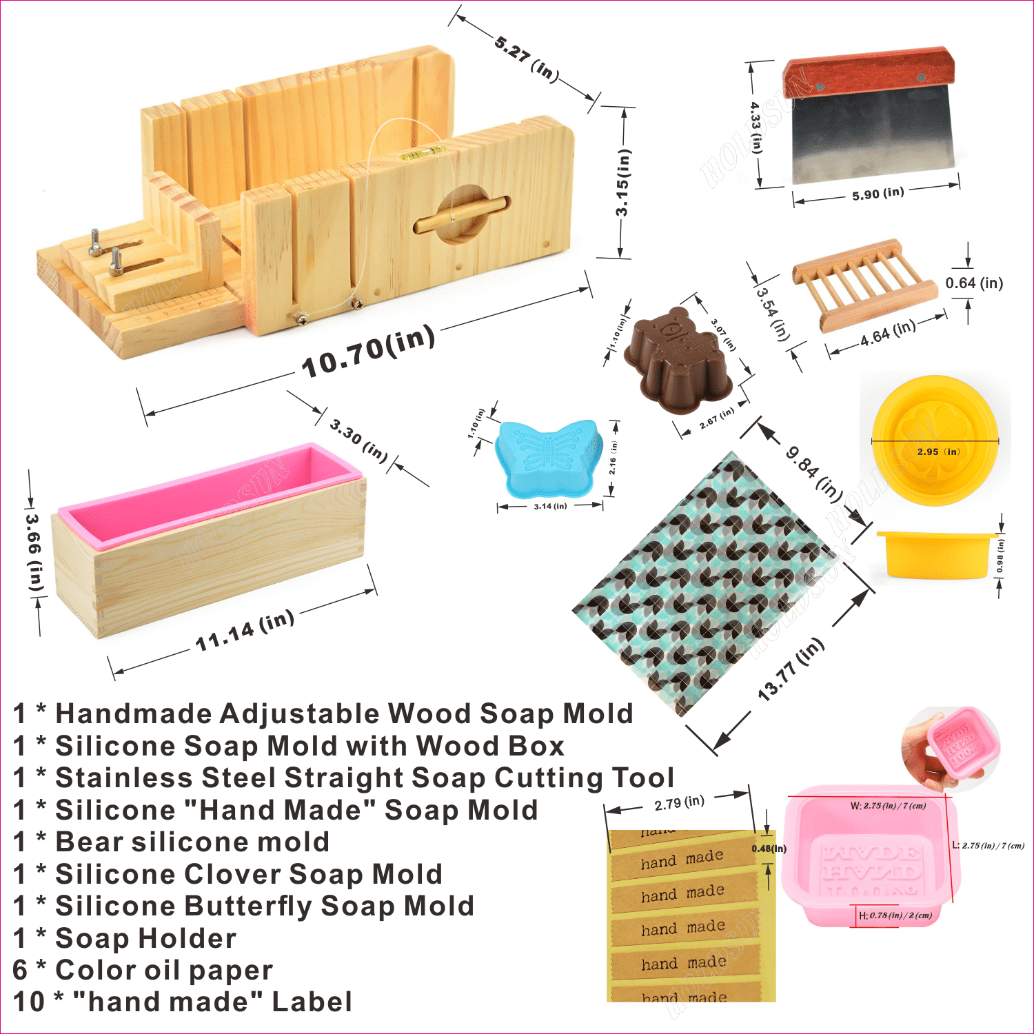 Wood Soap Molds - Handmade Adjustable Wood Soap Molds with Soap Cutting Tool and Silicone Molds
